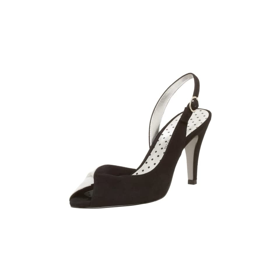 AK Anne Klein Womens Halima Sandal,Black/Silver,5 M