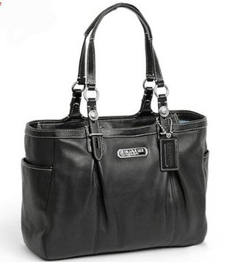 Coach Leather East West Gallery Book Shopper Bag Purse Tote 16565 Black