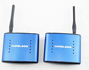 5.8 GHz Wireless A/V Sender and Receiver 1 Transmitter wireless A/V (Wireless IR Remote Extender) It can transmit AV signals of DVD, DVR, CCD camera, IPTV, satellite STB, digital TV STB and other similar devices Wireless transmission is suitable for one-floor