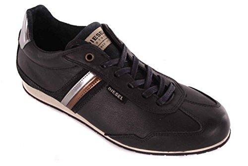Diesel para hombre zapatillas de cordones de zapatos negro #55, color negro, talla 41