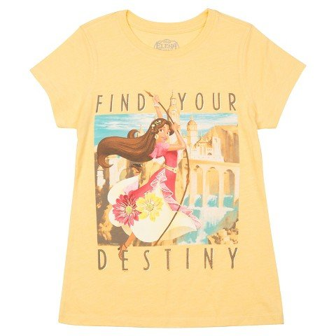 "Girls' Elena of Avalor Short Sleeve Tee - Yellow ""Find Your Destiny"""