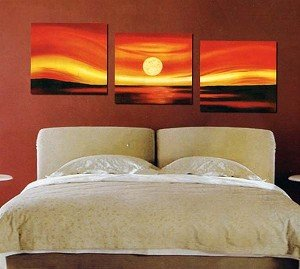Modern Abstract Art Oil Painting Stretched Ready to Hang 3 Piece Sunset