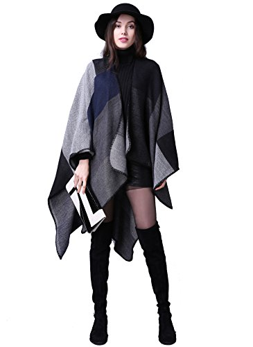 Donna Sciarpa,Donna inverno scialle acrilico maglione cappotto Girl grandi Tartan Wrap Maglia Scialle Stola Pashmina per Donna - 155*130cm (B)