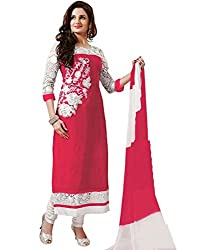 Akantik's Women's Georgette Unstitched Dress Material (AK-143_Pink_Free Size)