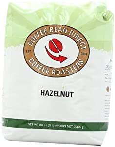 Coffee Bean Direct Hazelnut Flavored, Whole Bean Coffee, 5-Pound Bag