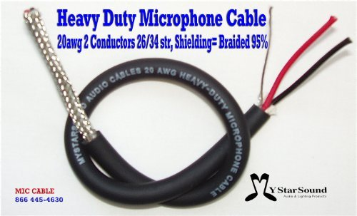 Microphone Wire / Cable Bulk 20 Gauge 95% Shielding Usa Made Hi End (100 Ft)
