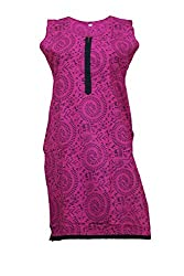Tulip Collections Women's Cotton Straight Kurta,Dark Pink_L