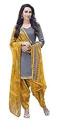 Grey Color Cotton Patiala Salwar Suit Unstitched Dress Materials