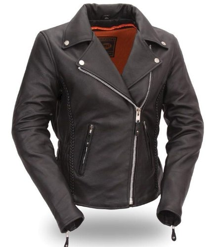 First Manufacturing Women's Hourglass Motorcycle Jacket (Black, X-Small)