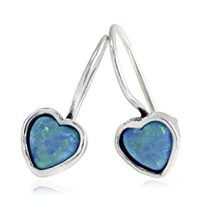 Turquoise Opal Stone Heart Hanging Earrings for Women 925 Sterling Silver in Gift Box