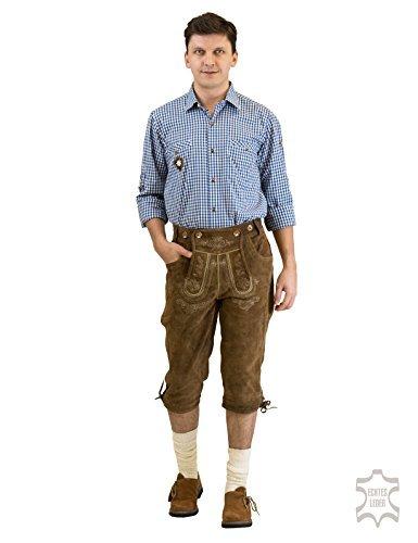 """Pantaloni da uomo in pelle vita noorsk al ginocchio """"franzl"""" con H-spalline, marrone antico, di Waller Trachtenmoden, taglia 44-62"""
