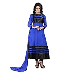 Ecoco Fashion Women's Net Anarkali UnStitched Dress Materials (ECOCO-100, Blue)