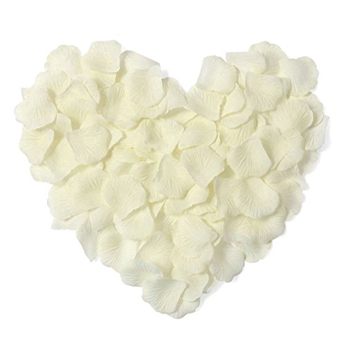 HKBAYI 10bag 1000pcs Silk Rose Petals Artificial Flower Wedding Party Vase Decor Bridal Shower Favor Centerpieces Confetti (Ivory)