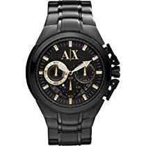 Armani Exchange Chronograph Black Dial Black Ion-plated Mens Watch AX1192