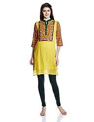 Juniper Women's Straight Kurta (30748_Yellow_Large)