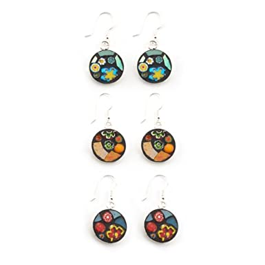 Silver Mosaic Earrings by Angela Ibbs