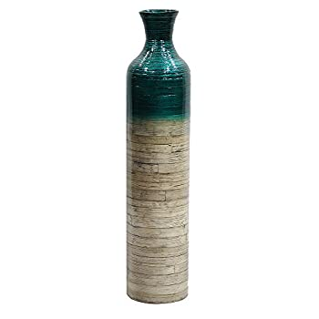 Bamboo Floor Vase with Metallic Teal and Natural Bamboo Finish