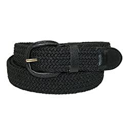 CTM Mens Elastic Covered Buckle Braided Stretch Belt (Big & Tall Available), XXXL, Black