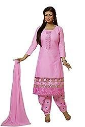 Meghali Women's Cotton Unstitched Salwar Suit (MGBD14D09_Pink_Free Size)