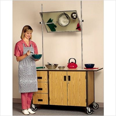 Fleetwood 17.09x0 Mobile Cooking Demonstration Table with Overhead Mirror and Optional Range