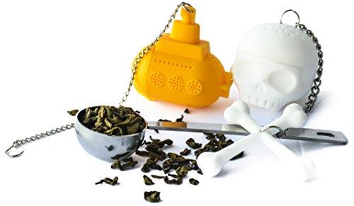 Altarmoss Novelty Tea Infuser Bundle - Yellow Submarine And Tea Bones - 100% Food Grade Silicone Tea Infuser, Set of 2 (Yellow Submarine, White Skull) With Bonus Stainless Steel Tea Spoon