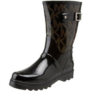 Michael Michael Kors Women's MK Logo Mid Rainboot Boot, Black, 10 M US