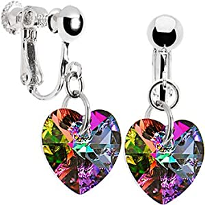 Handcrafted Light Vitrail Heart Clip Earrings MADE WITH SWAROVSKI ELEMENTS