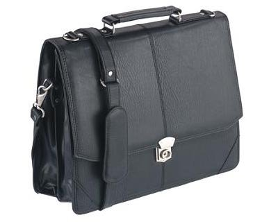 Falcon, BD-2584, Flapover Briefcase, Black