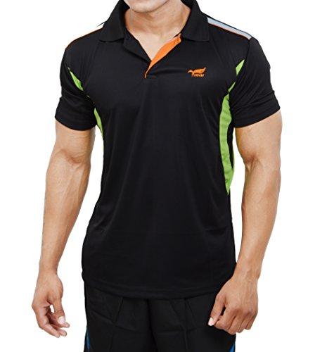 This sports tee by NNN fits perfectly, looks good and comes at an affordable price range. It is made of polyester and has sweat absorbing technology used in it.   Although a sports tee it can be sported with jeans and cargos. The colour combination is good and the colour doesn't fade away with repeated washings. It is made for rough usage on a daily basis including your workouts. It is certainly value for money.