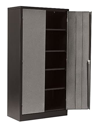 "Edsal CB721836 Textured Silver and Black Steel Modular Workspace Storage System Cabinet, 4 Adjustable Shelves, 72"" Height x 36"" Width x 18"" Depth"