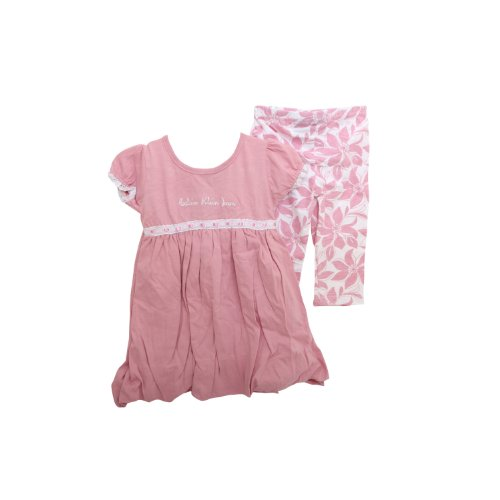 Calvin Klein Baby Girls Short Sleeve Pink Dress and Leggings Baby Clothing Set