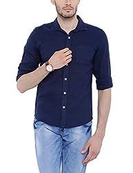 Bandit Navy Blue Slim fit Linen Solid Shirts