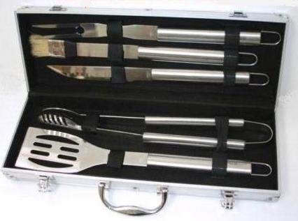 DELUXE Stainless Steel BBQ Cooking Tool UTENSIL Set - Complete With Luxury Presentation Case.