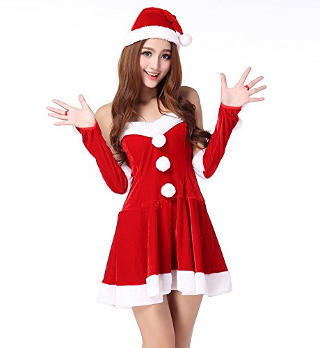Fllt Women's Girls Santa Cosplay Suit Sweetie Christmas Costume Sexy Dress