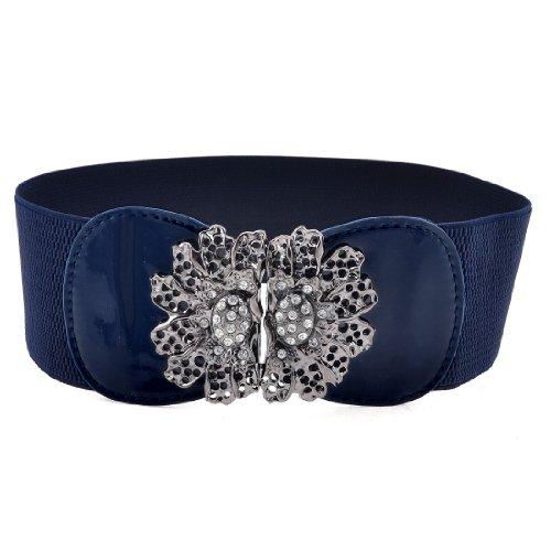 Ladies Hook Buckle Closure Textured Elastic Waist Belt Corset Band Navy Blue