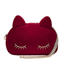 XMLiZhiGu New Fashion Casual Cute Chain Cat Crossbody Shouder Mini Bag for Women Red