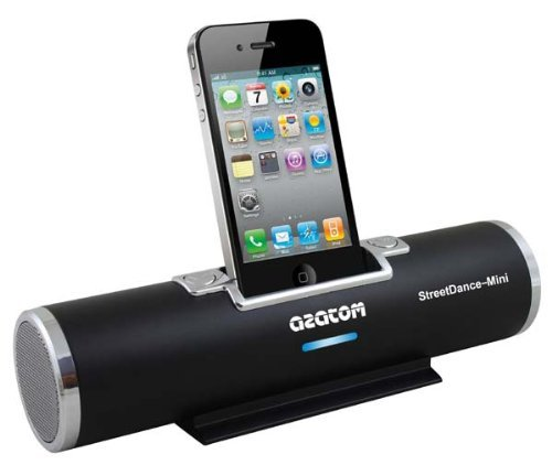 AZATOM® STREET DANCE MINI BLACK AND SILVER DOCKING STATION SPEAKER FOR IPOD AND IPHONE (Compatible with iPhone 3G, 3GS, 4, 4S - iPod nano 1,2,3,4,5,6th Generations, iPod Touch 2,3,4th - iPod Classics all) / UNIQUE DESIGN / QUALITY SOUND