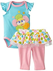 NUBY Baby-Girls Newborn Bodysuit and Pant Set Flower, Blue, 0-3 Months