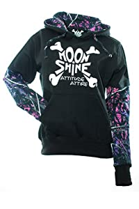 Moon Shine Attitude Attire Muddy Girl Pull Over Camo Sleeves Black