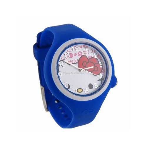 Hello Kitty Round Shaped Watch Dial Rubber Watchband Wrist Watch Blue