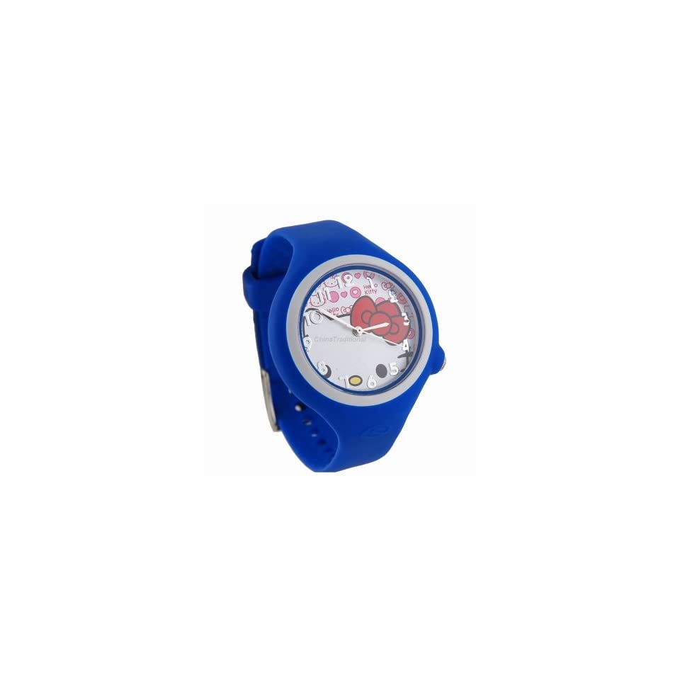 Hello Kitty Round Shaped Watch Dial Rubber Watchband Wrist Watch Blue