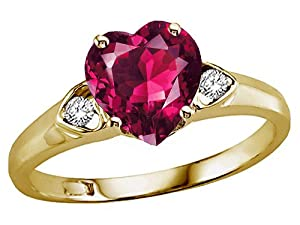 Tommaso Design(tm) Heart Shape 8mm Created Ruby and Genuine Diamond Engagement Promise Ring in 14 kt Yellow Gold Size 6