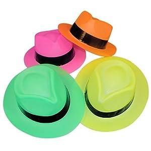 Neon Color Plastic Gangster Hats (1 Dz) (1, 1 Dozen)