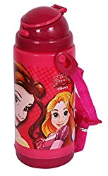 Disney & Marvel Insualted Sipper Bottle Water Bottle, in Mickey Mouse, Cinderella, Avengers, Spider-Man, Minnie Mouse & Princess characters, BPA free, 500ml, Multi-color (Princess Bottle)
