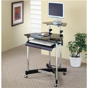 Buy Low Price Comfortable Powers Computer Desk in Black and Chrome – Coaster 800245 (B005LWT6HK)