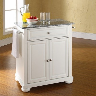 Cheap Alexandria Solid Granite Top Portable Kitchen Island in White (KF30023AWH)