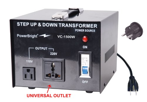 Power Bright VC1500W Voltage Transformer 1500 Watt Step Up/Down converter  110/120 Volt – 220/240 Volt