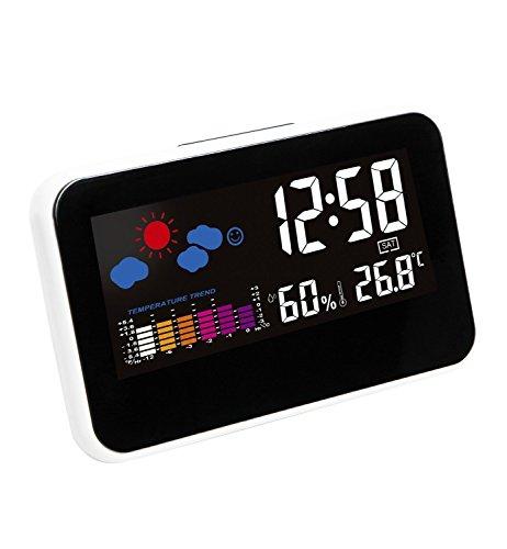 Hippih LCD digitale Snooze lato del letto sveglia elettronico Orologio da tavolo con Stazione Meteo LCD retroilluminato a colori Icon coperto temperatura umidità Giorno Data Ora display (bianco)