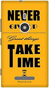 The Racoon Grip Never Give up hard plastic printed back case / cover for Nokia Lumia 925