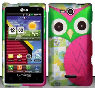 3 Items Combo For LG Lucid 4G / Connect 4G VS840 (Verizon) Colorful Pink Owl Design Snap On Hard Case Protector Cover + Free Neck Strap + Free Mini Stylus Pen (Verizon Lg Lucid 4g compare prices)
